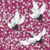 wzór japońskiego Czereśniowy okwitnięcie Ornament z orientalnymi motywami wektor ilustracji