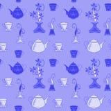 Wzór jest bezszwowy, monochromatyczny, błękitny od, czajników i filiżanek dla kuchni royalty ilustracja