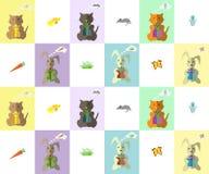 wzór Kiciunia, królik i prezenty Obraz Royalty Free