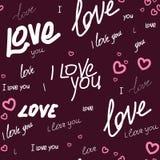 Wzór kocham ciebie i serce Zdjęcia Stock