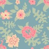 Wzór kwiaty i liście, Hawaje ilustracja wektor
