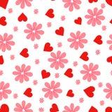 wzór kwiaty serca royalty ilustracja