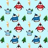 Wzór śliczni pingwiny w pulowerach i kapeluszach ilustracji