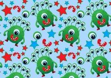 Wzór śliczni potwory, potwory, oczy, usta, gwiazda Obrazy Stock
