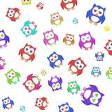 wzór Mnóstwo kolorowe sowy Zdjęcia Stock