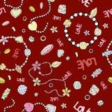 Wzór modni łańcuchy i koraliki dla kobiet na jaskrawy ponownym ilustracja wektor