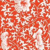 Wzór na czerwonym tle z chińskimi kwiatami ilustracja wektor