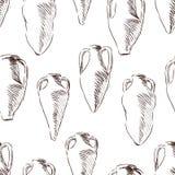 Wzór nakreślenia antyczni amphorae ilustracja wektor