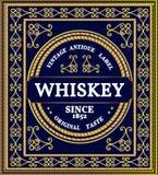 Wzór od kędziorów Rocznik ornamentacyjna rama z pozłacanym skutkiem Whisky etykietka ilustracja wektor
