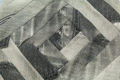 wzór patchwork tkaniny drelichowy czerń i szarość Zdjęcia Stock