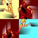 Wzór pociągany ręcznie silized postacie atlety ilustracji