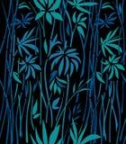 Wzór przerastający bambus na czarnym tle Zdjęcie Stock