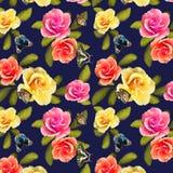 Wzór róże i motyle na barwionym tle ilustracja wektor