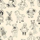 Wzór różnorodne stare zabawki Fotografia Royalty Free
