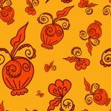 Wzór roślina elementów pomarańcze tło Obrazy Royalty Free