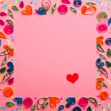 Wzór robić papierowi uszycie kwiaty i barwiący confetti obraz royalty free