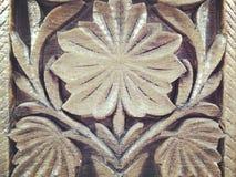 Wzór rzeźbiący liść na drewnie Obraz Royalty Free