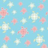 Wzór stylizowani żółwie Kolory morze i plaża Błękit, kolor żółty, koral obrazy stock