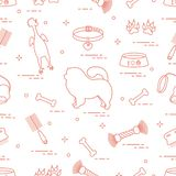 Wzór sylwetki chow pies, puchar, kość, muśnięcie, grępla, ilustracja wektor