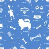 Wzór sylwetki chow pies, puchar, kość, muśnięcie, grępla, royalty ilustracja