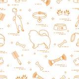 Wzór sylwetki chow pies, puchar, kość, muśnięcie, grępla, ilustracji
