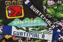 Wzór tworzył z małymi szklanymi koralikami w Gwatemala Zdjęcia Stock