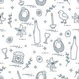 Wzór Wielkanocni symbole: Wielkanoc tort, kurczątko, leluja, kosze, eg. royalty ilustracja