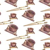 Wzór z Ñ  hinese chopsticks i filiżankami royalty ilustracja