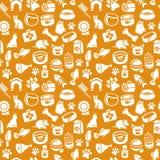 Wzór z śmiesznym kotem i psimi ikonami Obrazy Royalty Free
