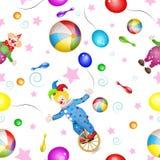 Wzór z śmiesznymi błazenami i zabawkami ilustracji