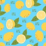 Wzór z świeżą żółtą cytryną i liśćmi Fotografia Stock