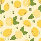 Wzór z świeżą żółtą cytryną i liśćmi Obrazy Stock