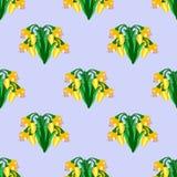 Wzór z żółtymi kwiatami ilustracja wektor