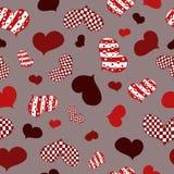 Wzór z abstrakcjonistyczną czerwienią, bielem i Burgundy sercami, ilustracja wektor