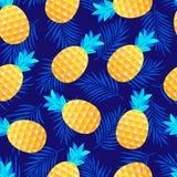 Wzór z ananasami i liśćmi ilustracja wektor