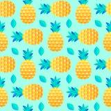 Wzór z ananasami i liśćmi royalty ilustracja