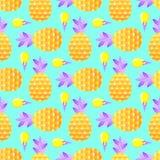 Wzór z ananasami i lody royalty ilustracja
