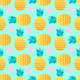 Wzór z ananasami i sercami ilustracja wektor