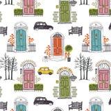 Wzór z barwionymi drzwiami Zdjęcie Royalty Free