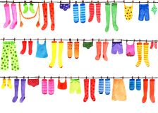 Wzór z barwionymi skarpetami, pończochy, koszulki, spodnia, swimsuit beak dekoracyjnego latającego ilustracyjnego wizerunek swój  Obraz Royalty Free