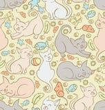Wzór z bawić się koty Obrazy Royalty Free