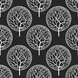 Wzór z białymi drzewami Zdjęcie Royalty Free