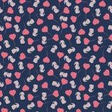 Wzór z bicyklami i serce balonami Obraz Stock