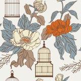 Wzór z birdcages i liśćmi ilustracja wektor