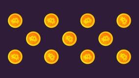 Wzór z bitcoin w kreskówka stylu Crypto waluty zmiana duży ja rozmiar od małego, wiruje, spadek i plecy zbiory wideo