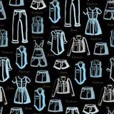 Wzór z cajgami jest ubranym dla kobiet na czerni Zdjęcia Stock