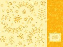 Wzór z choinkami, gwiazdami i płatkami śniegu, Zdjęcie Royalty Free