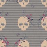 Wzór z czaszkami i kwiatami Zdjęcia Stock
