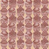 Wzór z czekoladową babeczką Obrazy Stock