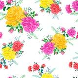 Wzór z czerwienią, menchiami i żółtymi różami, Zdjęcia Royalty Free